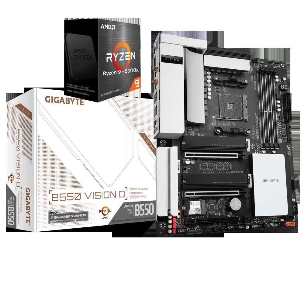 AMD RYZEN 9 5900X 12-Core 3.7 GHz (4.8 GHz Max Boost) + GIGABYTE B550 VISION D Motherboard Bundle