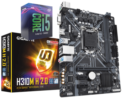 Intel® Core™ i5-9400F Processor (9M Cache, up to 4.10 GHz ) + Gigabyte H310 H 2.0 Motherboard Bundle