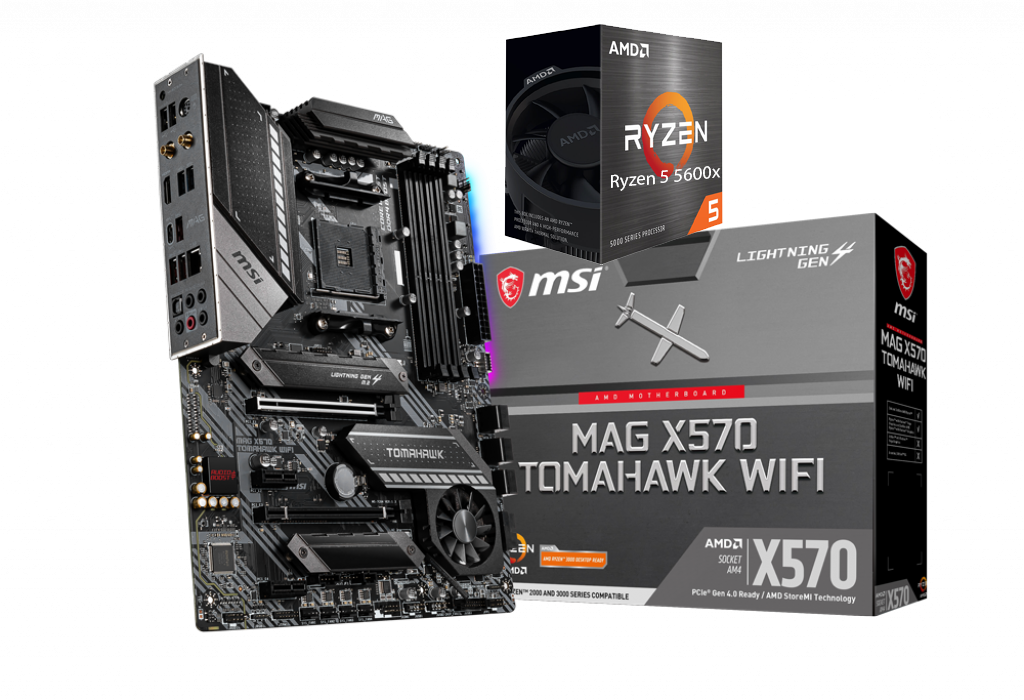 AMD RYZEN 5 5600X 6-Core 3.7 GHz (4.6 GHz Max Boost) + MSI MAG X570 TOMAHAWK WIFI Gaming Motherboard Bundle