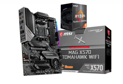 AMD RYZEN 5 5600X 6-Core 3.7 GHz (4.6 GHz Max Boost) + MSI MAG X570 TOMAHAWK WIFI Gaming Motherboard Bundle