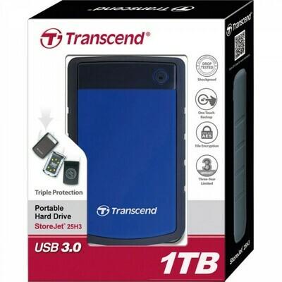 Transcend Shockproof 1TB Portable External HDD USB 3.0 Blue