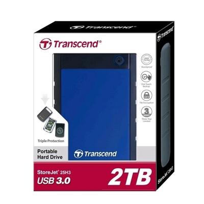 Transcend Shockproof 2TB Portable External HDD USB 3.0 Blue