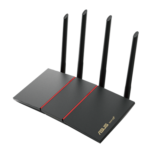 RT-AX 55 AX1800 Dual Band WiFi 6 (802.11ax) Router supporting MU-MIMO and OFDMA technology, with AiProtection Classic network security powered by Trend Micro™, compatible with ASUS AiMesh WiFi system