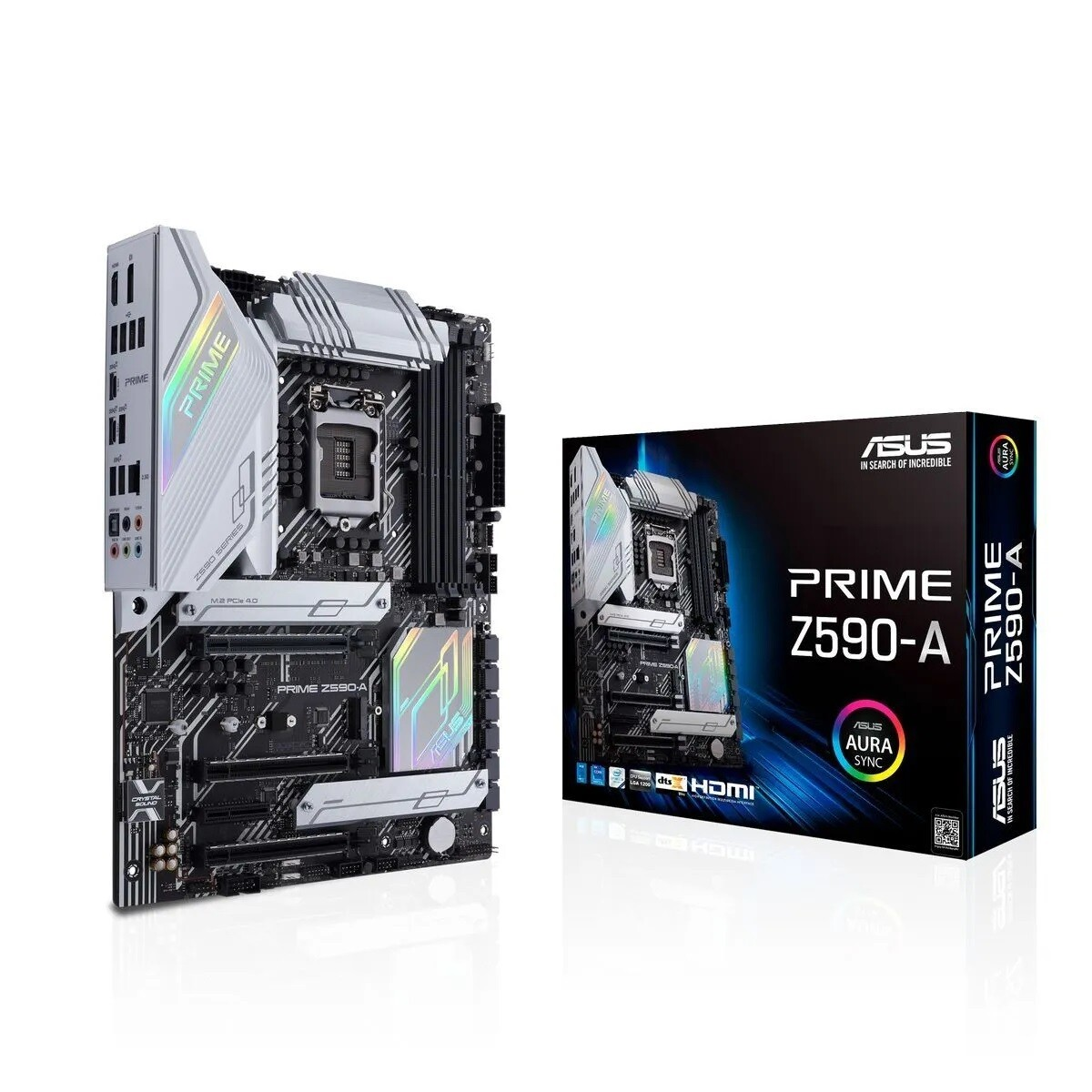 ASUS PRIME Z590-A ATX motherboard with PCIe® 4.0, three M.2 slots, 16 DrMOS power stages, HDMI®, DisplayPort™, SATA 6 Gbps, Intel® 2.5 Gb Ethernet, USB 3.2 Gen 2x2 Type-C®, front panel (LGA 1200)