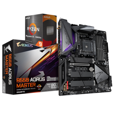 AMD RYZEN 9 5900X 12-Core 3.7 GHz (4.8 GHz Max Boost) + GIGABYTE B550 AORUS MASTER Motherboard Bundle