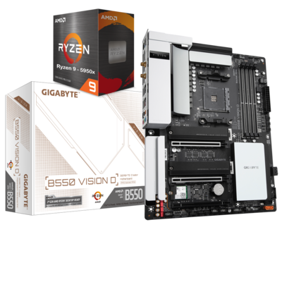 AMD RYZEN 9 5950X 16-Core 3.4 GHz (4.9 GHz Max Boost) + GIGABYTE B550 VISION D Motherboard Bundle