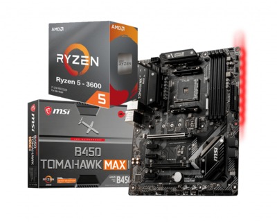 AMD RYZEN 5 3600 6-Core 3.6 GHz (4.2 GHz Max Boost) + MSI B450 TOMAHAWK MAX 2 Motherboard Bundle