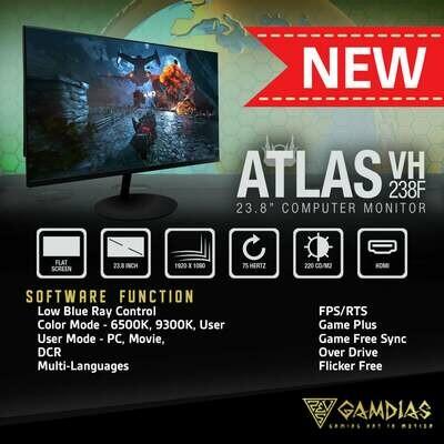 "GAMDIAS ATLAS VH238F 24"" FLAT 60-75HZ GAMING MONITOR"