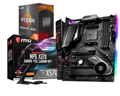 AMD RYZEN 9 5950X 16-Core 3.4 GHz (4.9 GHz Max Boost) + MSI MPG X570 GAMING PRO CARBON WIFI Gaming Motherboard Bundle