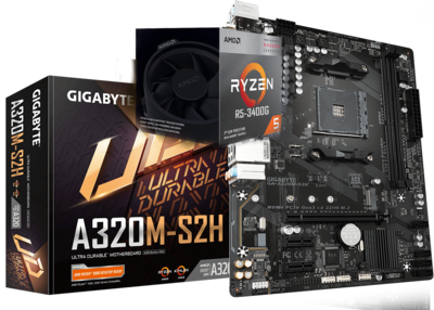 AMD RYZEN 5 3400G 4-Core 3.7 GHz (4.2 GHz Max Boost) + GIGABYTE GA-A320M-S2H Motherboard Bundle