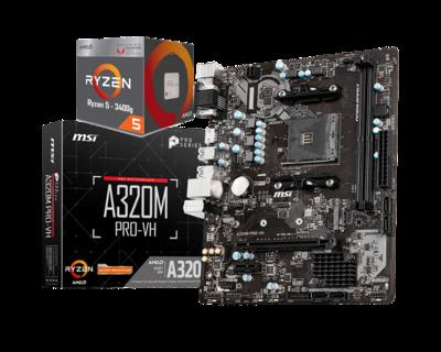 AMD RYZEN 5 3400G 4-Core 3.7 GHz (4.2 GHz Max Boost) + MSI A320M PRO-VH Motherboard Bundle