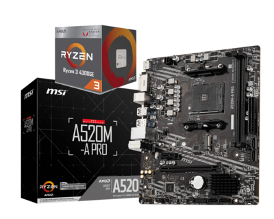 AMD Ryzen 3 4300GE 4-Core/8-Threads 3.5 GHz (4.0 GHz Max Boost) + MSI A520M-A PRO Motherboard Bundle