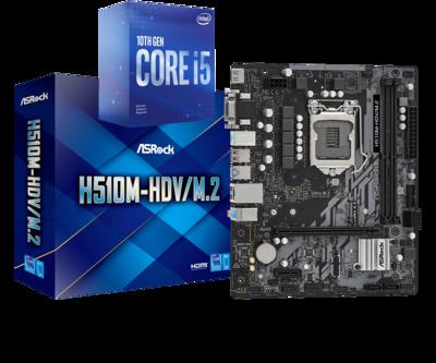 Intel Core i5-10400 Comet Lake Quad-Core 2.9 GHz (4.30 GHz Turbo) + ASROCK H510M-HDV/M.2 Gaming Motherboard Bundle