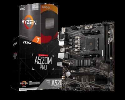 AMD RYZEN 7 5700G 8-Core 3.8 GHz (4.6 GHz Max Boost) + MSI A520M PRO Motherboard Bundle