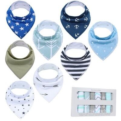 Kit de 8 bavoirs de dentition unisexe pour bébé, à design élégant doux 100% coton biologique avec boutons-pression réglables