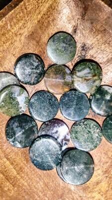 Moss Agate drilled mini coins