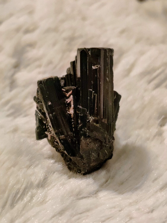 Terminated black tourmaline cluster
