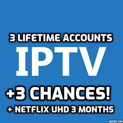 IPTV Lifetime 3 Connections + Netflix FHD