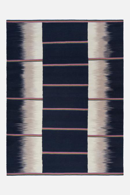 Gelim flat weave petrol grey stripes size 2.55 x 190 Final Reduction