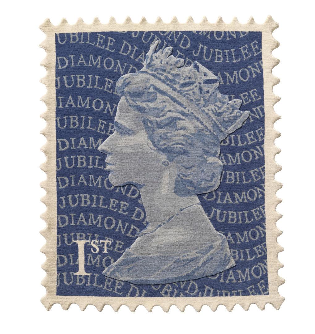 Stamp Rug blue diamond Jubilee 120 x 100 was £695
