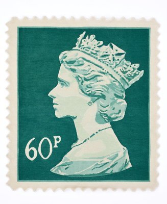 Stamp rug Mint green 60p size 120 x 100