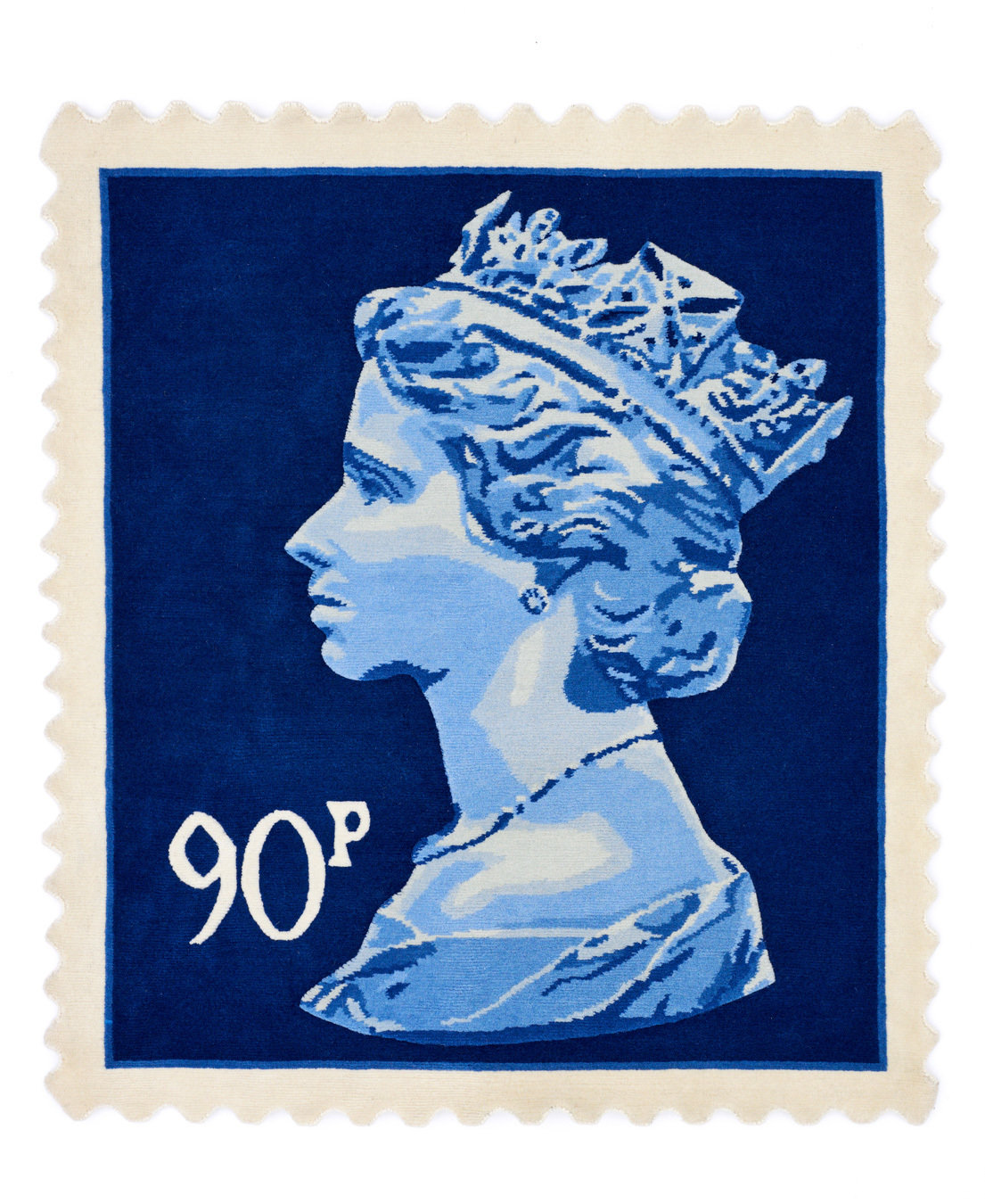 Stamp rug blue 90p size 120 x 100
