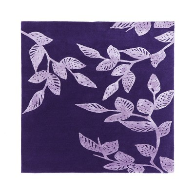 Nepalese wool and silk purple leaves size 120 x 120 - Final Reduction
