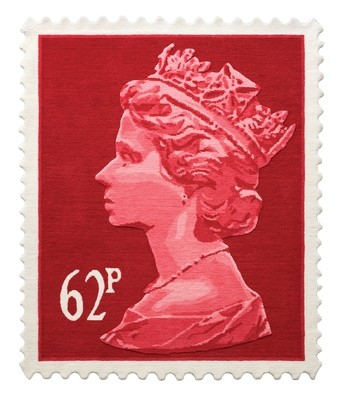Red 62p Stamp Rug 120 x 100 cm