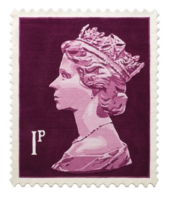 Purple 1p Stamp rug 120 x 100 cm