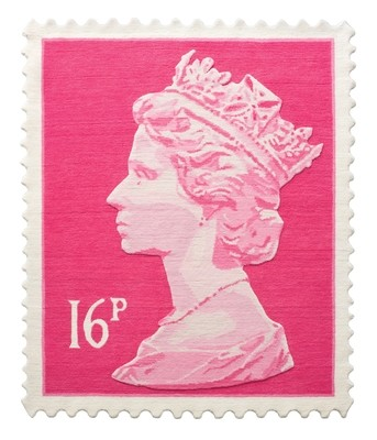 Pink 16p Stamp Rug 120 x 100 cm
