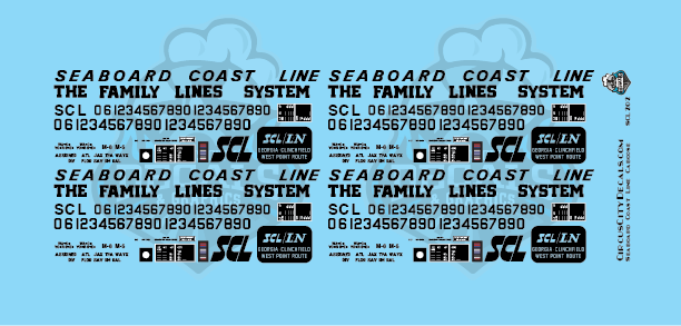 Seaboard Coast Line Caboose Lettering HO Scale Decal Set
