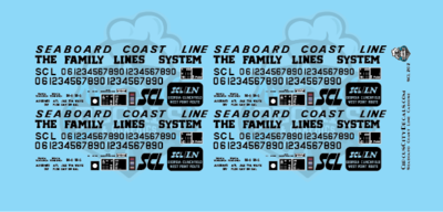 Seaboard Coast Line Caboose Lettering HO Scale Decal Set