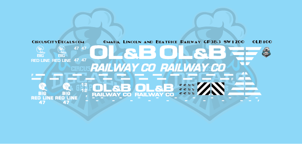 Omaha, Lincoln and Beatrice Railway GP38-3 SW1200 N Scale Decal Set