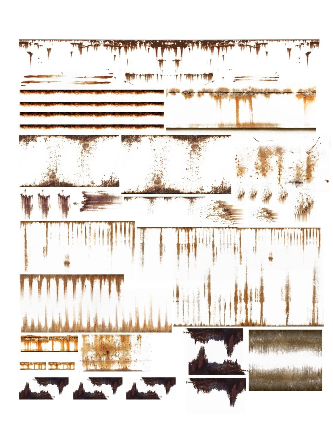 """Weathering Freight Rust Dent Stain Decals 8.5""""x11"""""""