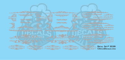 Silver Scroll Circus Decals HO Scale Cole Bros Ringling