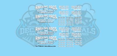 Ringling Bros. & Barnum Bailey Circus RBBB Mack Truck Decals N Scale