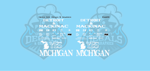 "Detroit & Mackinac ""Yes Michigan"" Boxcar Decal Set DM 2463"