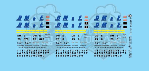 Dakota, Minnesota & Eastern 2 Bay Covered Hopper Decals DM&E