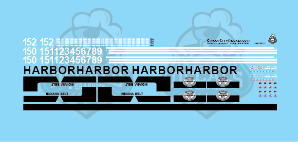 Indiana Harbor Belt SW1500 Locomotive HO Scale Decal Set