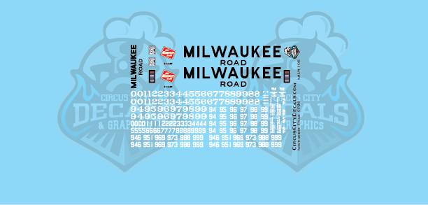 Milwaukee Road GP20 MILW N Scale Decal Set