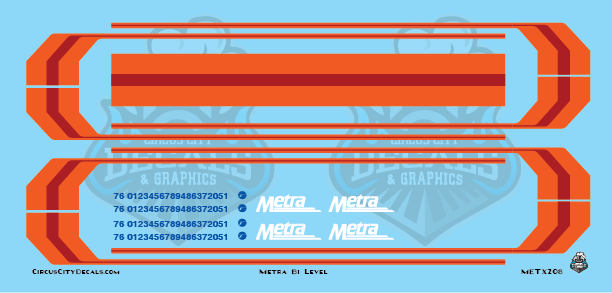 Metra METX BiLevel HO Scale Decal Set