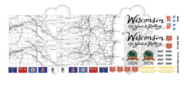 Wisconsin Central Anniversary GP-40 Map & Flag Decal N Scale 3026 3027