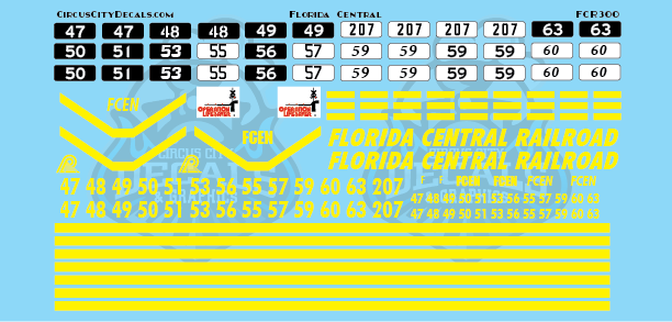 Florida Central Railroad CF7 GP7 GP9 GP18 GP35 O Scale Decal Set