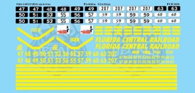 Florida Central Railroad CF7 GP7 GP9 GP18 GP35 O Scale Decal Set