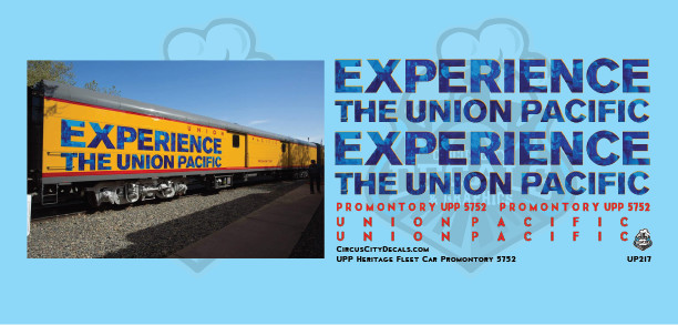 Union Pacific Promontory Experience Baggage Car  HO Decals UP UPRR Heritage Fleet 5752