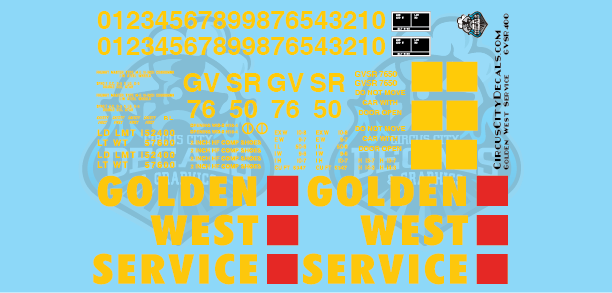 Golden West Service GVSR LGB 50' Boxcar G Scale Decal Set