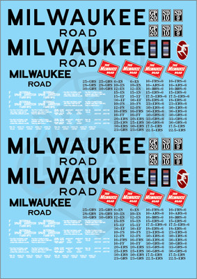 Milwaukee Road Locomotive MILW G Scale Decal Set