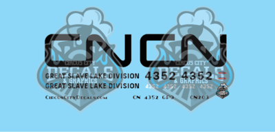 Canadian National GP9 4352 Great Slave Lake Division HO Scale Decal Set
