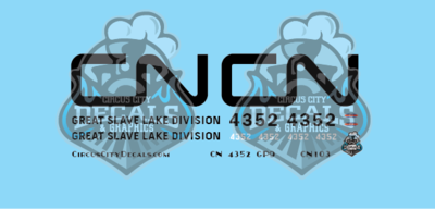 Canadian National GP9 4352 Great Slave Lake Division N Scale Decal Set