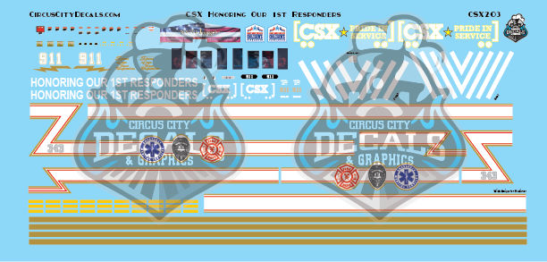 CSX ES44AH Honoring Our 1st Responders HO Scale Decal Set Intermountain ES44